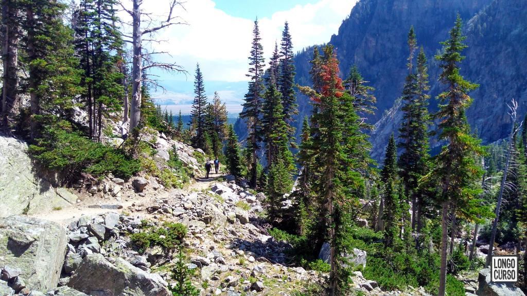 O grupo caminha na Death Canyon Trail