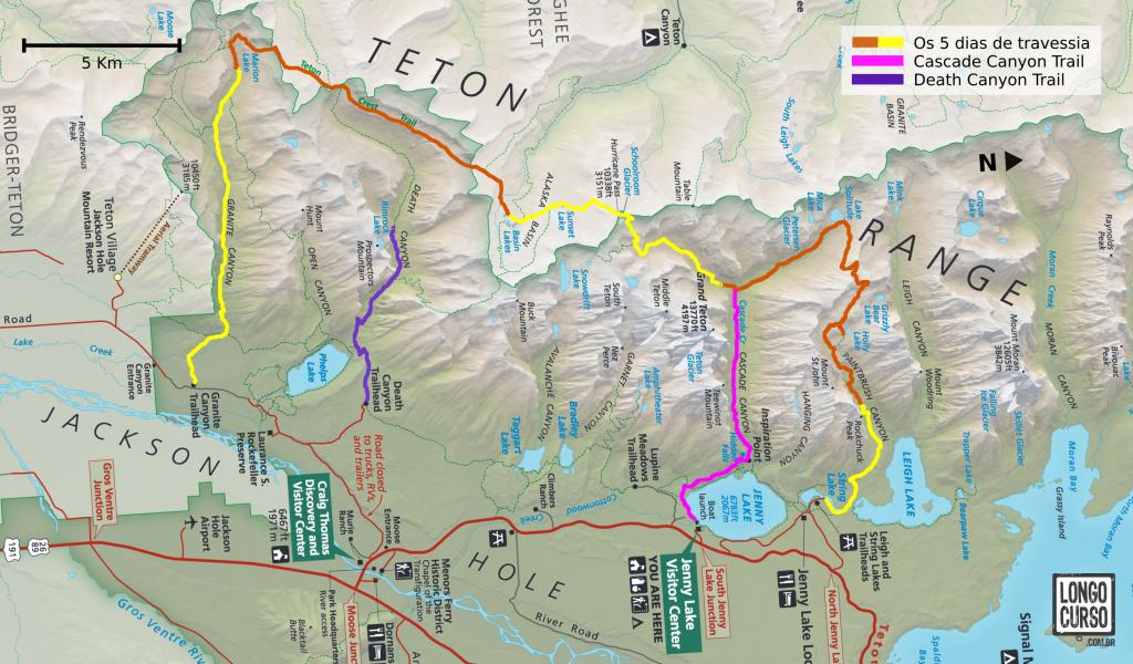 No mapa acima, os trechos percorridos na travessia e nas duas caminhadas nos cânions. A caminhada na área do  Two Ocean Lakes está fora da região mostrada no mapa.