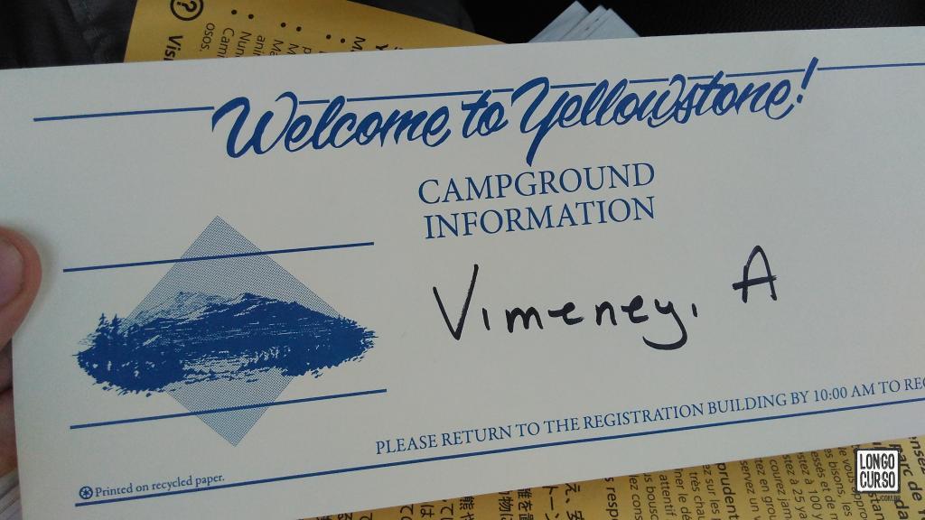 Cartão de boas vindas ao Canyon Campground