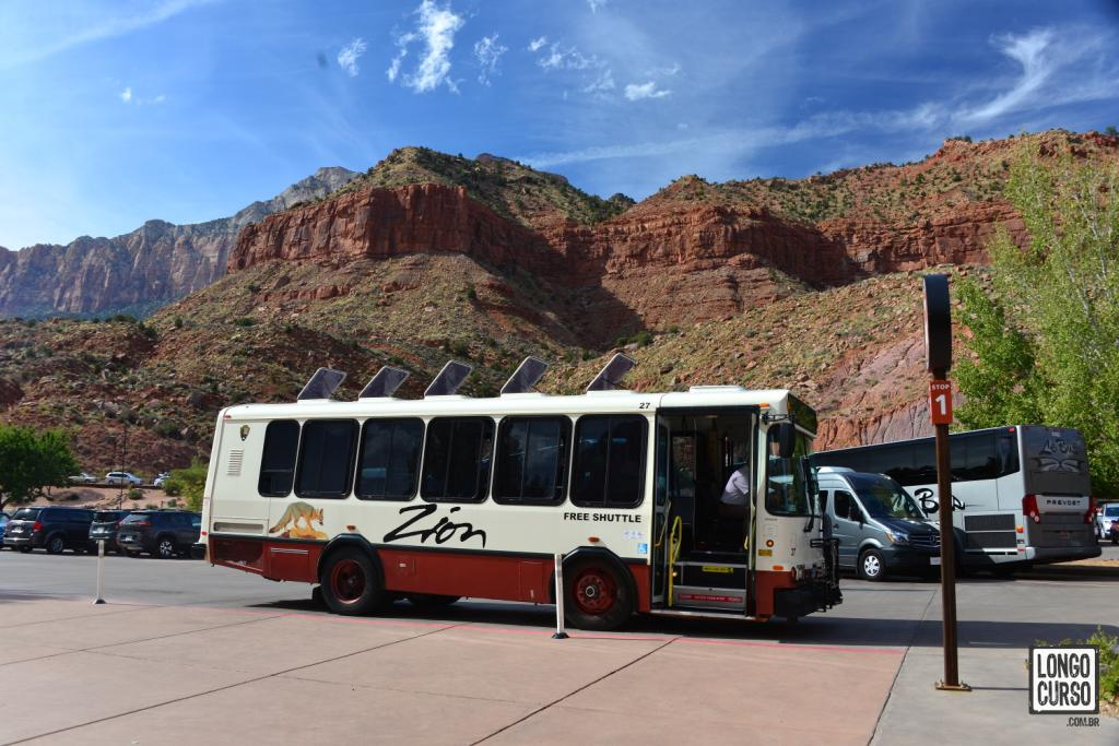 Zion's internal bus shuttle. In the high season, some areas in the park can only be accessed by shuttle bus.